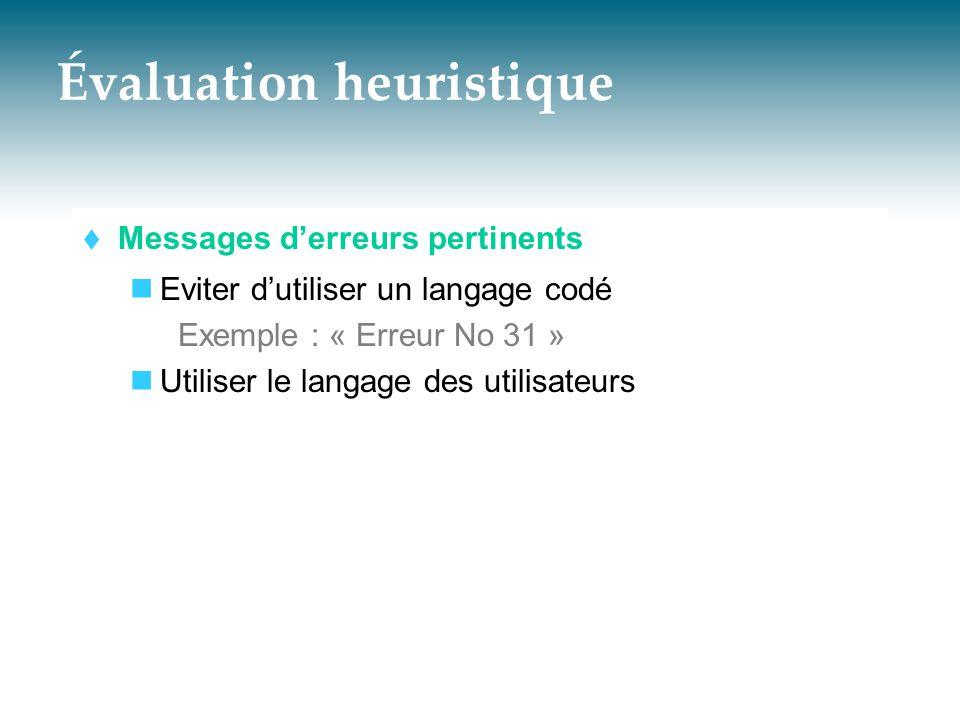 Évaluation heuristique  Messages d'erreurs pertinents  Eviter d'utiliser un langage codé Exemple : « Erreur No 31 »  Utiliser le langage des utilis