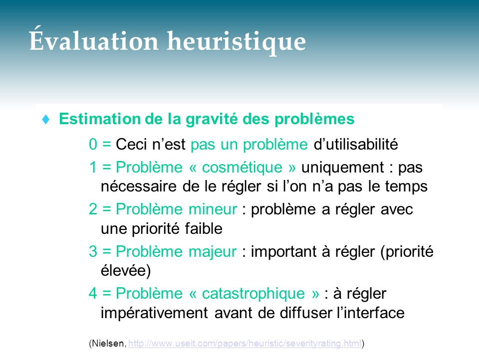 Évaluation heuristique  Estimation de la gravité des problèmes 0 = Ceci n'est pas un problème d'utilisabilité 1 = Problème « cosmétique » uniquement