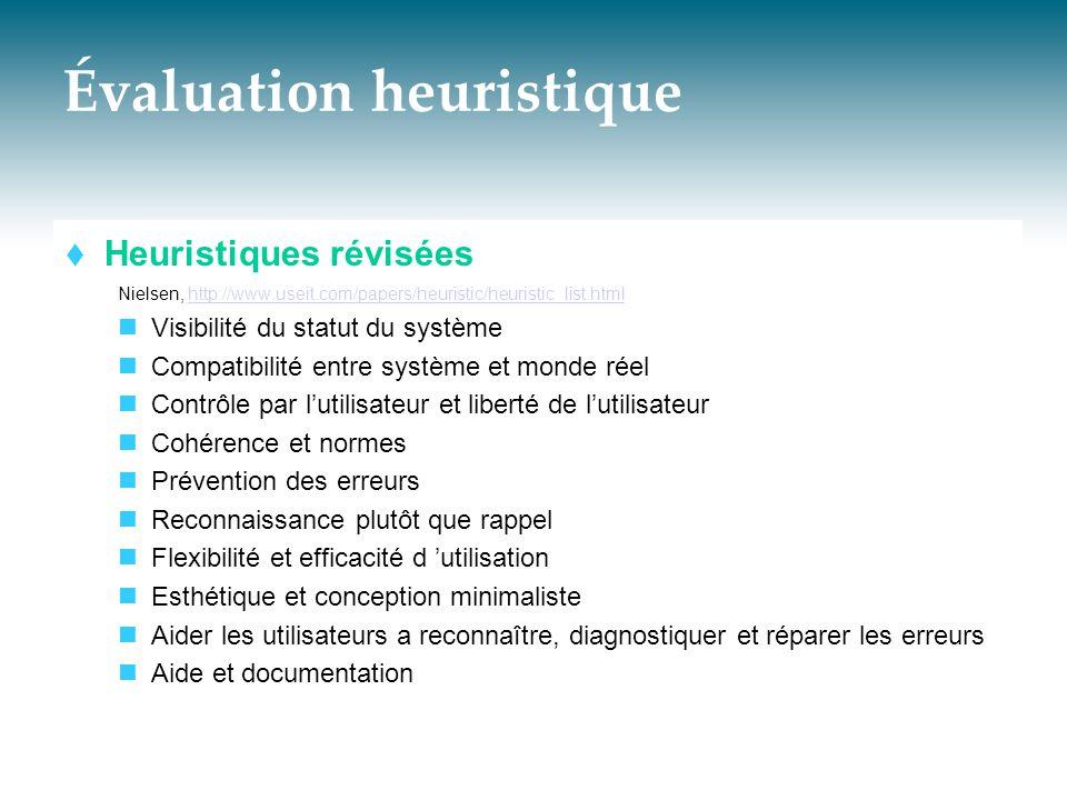 Évaluation heuristique  Heuristiques révisées Nielsen, http://www.useit.com/papers/heuristic/heuristic_list.htmlhttp://www.useit.com/papers/heuristic