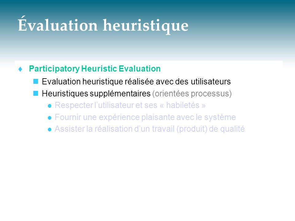 Évaluation heuristique  Participatory Heuristic Evaluation  Evaluation heuristique réalisée avec des utilisateurs  Heuristiques supplémentaires (or