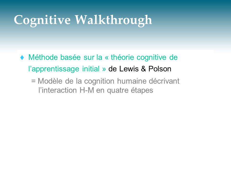 Cognitive Walkthrough  Méthode basée sur la « théorie cognitive de l'apprentissage initial » de Lewis & Polson = Modèle de la cognition humaine décri