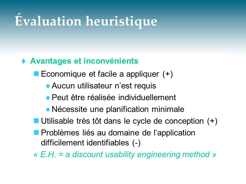 Évaluation heuristique  Avantages et inconvénients  Economique et facile a appliquer (+)  Aucun utilisateur n'est requis  Peut être réalisée indiv