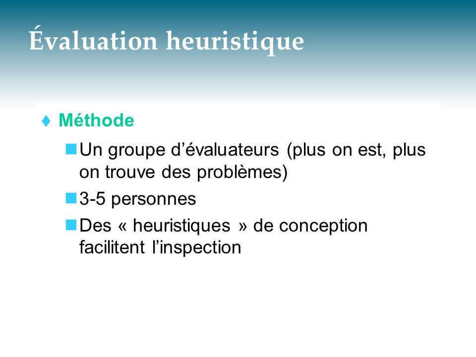 Évaluation heuristique  Méthode  Un groupe d'évaluateurs (plus on est, plus on trouve des problèmes)  3-5 personnes  Des « heuristiques » de conce