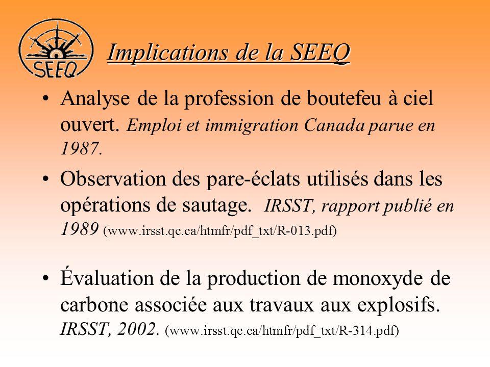 •Analyse de la profession de boutefeu à ciel ouvert. Emploi et immigration Canada parue en 1987. •Observation des pare-éclats utilisés dans les opérat