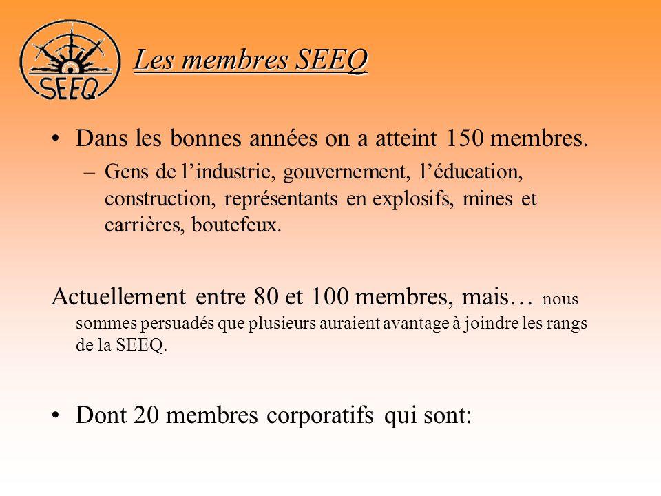 •Dans les bonnes années on a atteint 150 membres. –Gens de l'industrie, gouvernement, l'éducation, construction, représentants en explosifs, mines et