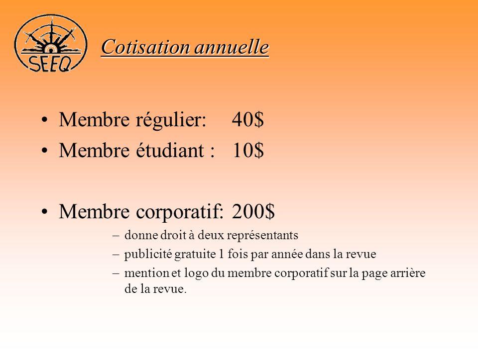•Membre régulier:40$ •Membre étudiant :10$ •Membre corporatif:200$ –donne droit à deux représentants –publicité gratuite 1 fois par année dans la revu