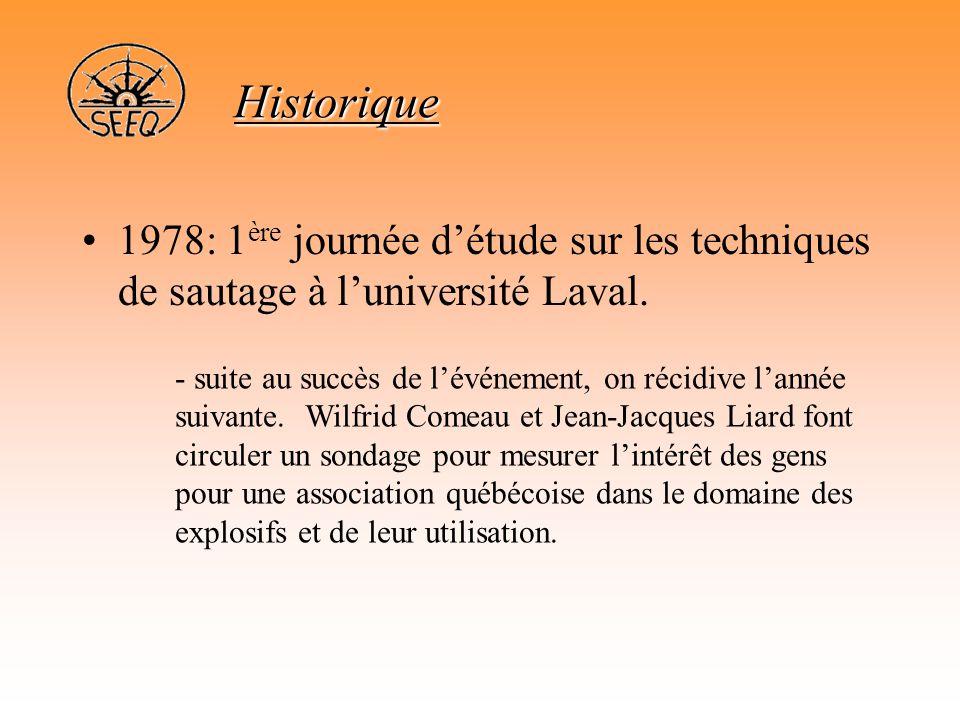Historique •1978: 1 ère journée d'étude sur les techniques de sautage à l'université Laval. - suite au succès de l'événement, on récidive l'année suiv