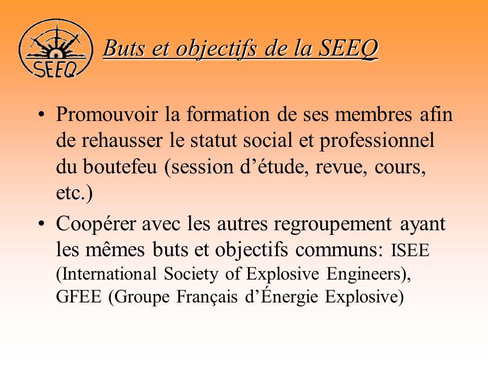 •Promouvoir la formation de ses membres afin de rehausser le statut social et professionnel du boutefeu (session d'étude, revue, cours, etc.) •Coopére