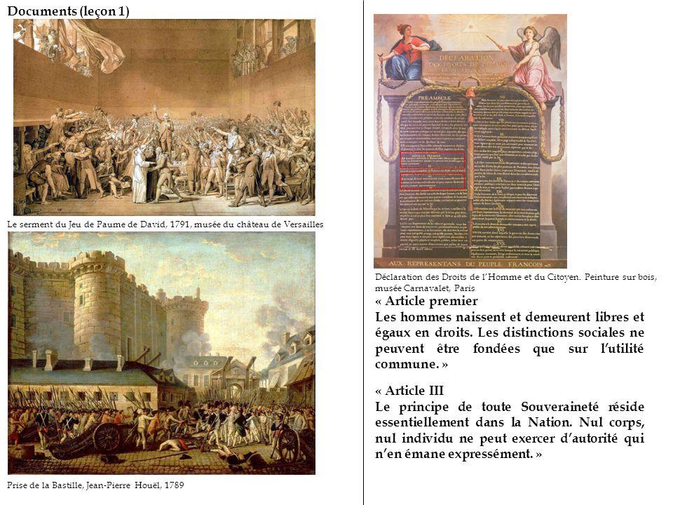 Documents (leçon 1) Prise de la Bastille, Jean-Pierre Houël, 1789 Le serment du Jeu de Paume de David, 1791, musée du château de Versailles Déclaration des Droits de l'Homme et du Citoyen.