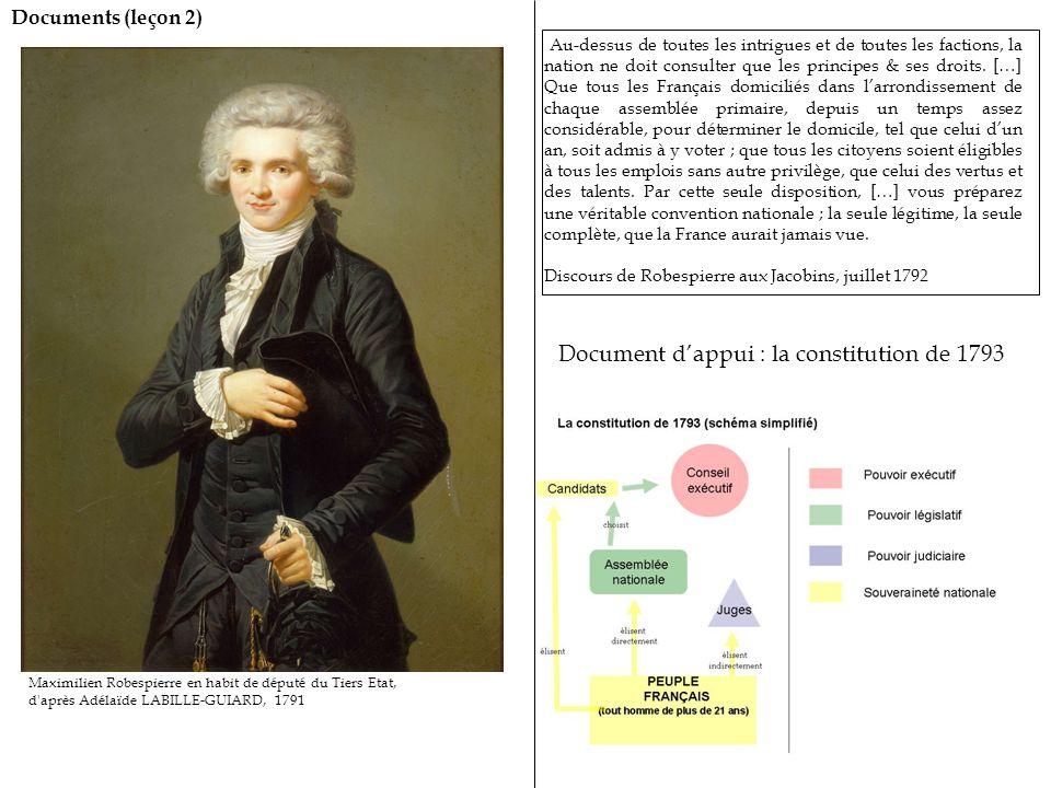 Documents (leçon 2) Maximilien Robespierre en habit de député du Tiers Etat, d après Adélaïde LABILLE-GUIARD, 1791 Au-dessus de toutes les intrigues et de toutes les factions, la nation ne doit consulter que les principes & ses droits.