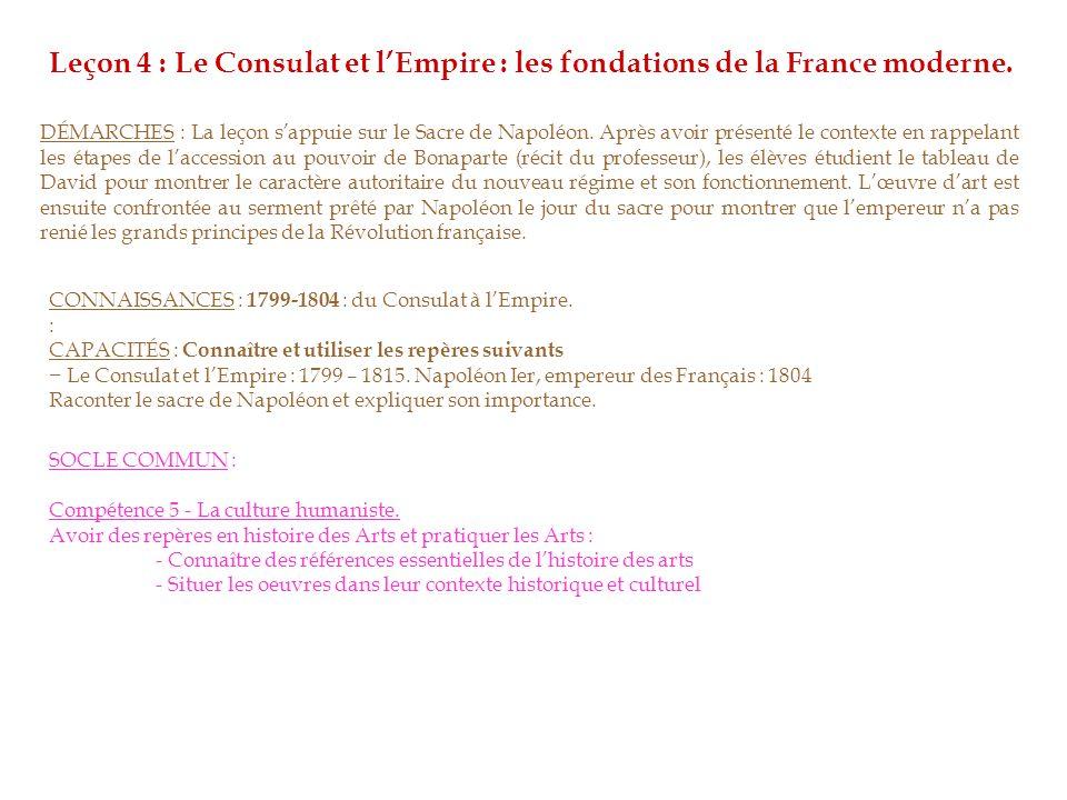 Leçon 4 : Le Consulat et l'Empire : les fondations de la France moderne.