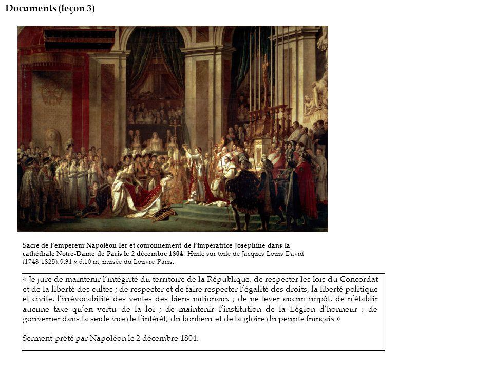 Documents (leçon 3) Sacre de l'empereur Napoléon Ier et couronnement de l'impératrice Joséphine dans la cathédrale Notre-Dame de Paris le 2 décembre 1804.