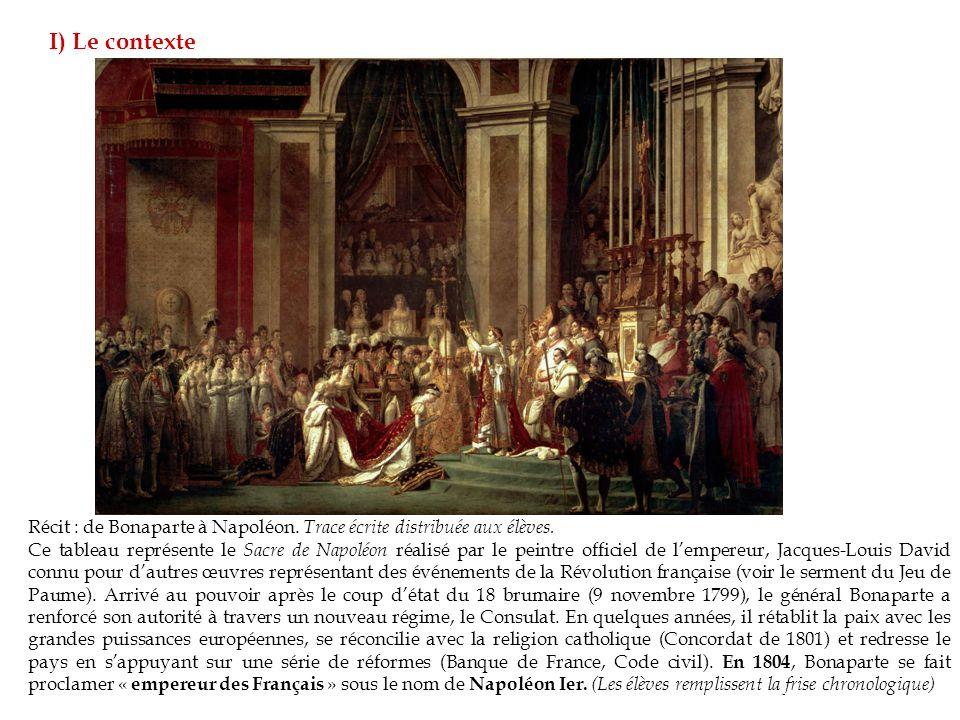 Récit : de Bonaparte à Napoléon.Trace écrite distribuée aux élèves.