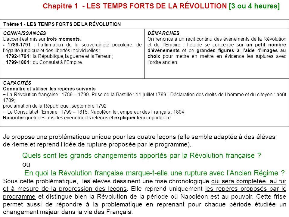 Thème 1 - LES TEMPS FORTS DE LA RÉVOLUTION CONNAISSANCES L'accent est mis sur trois moments: - 1789-1791 : l'affirmation de la souveraineté populaire, de l'égalité juridique et des libertés individuelles ; - 1792-1794 : la République, la guerre et la Terreur ; - 1799-1804 : du Consulat à l'Empire.