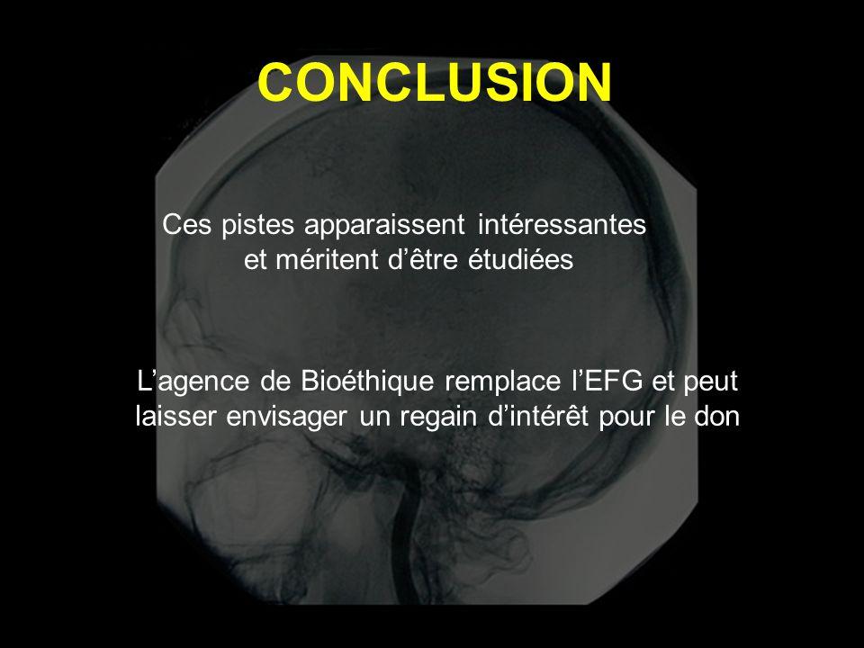 CONCLUSION Ces pistes apparaissent intéressantes et méritent d'être étudiées L'agence de Bioéthique remplace l'EFG et peut laisser envisager un regain