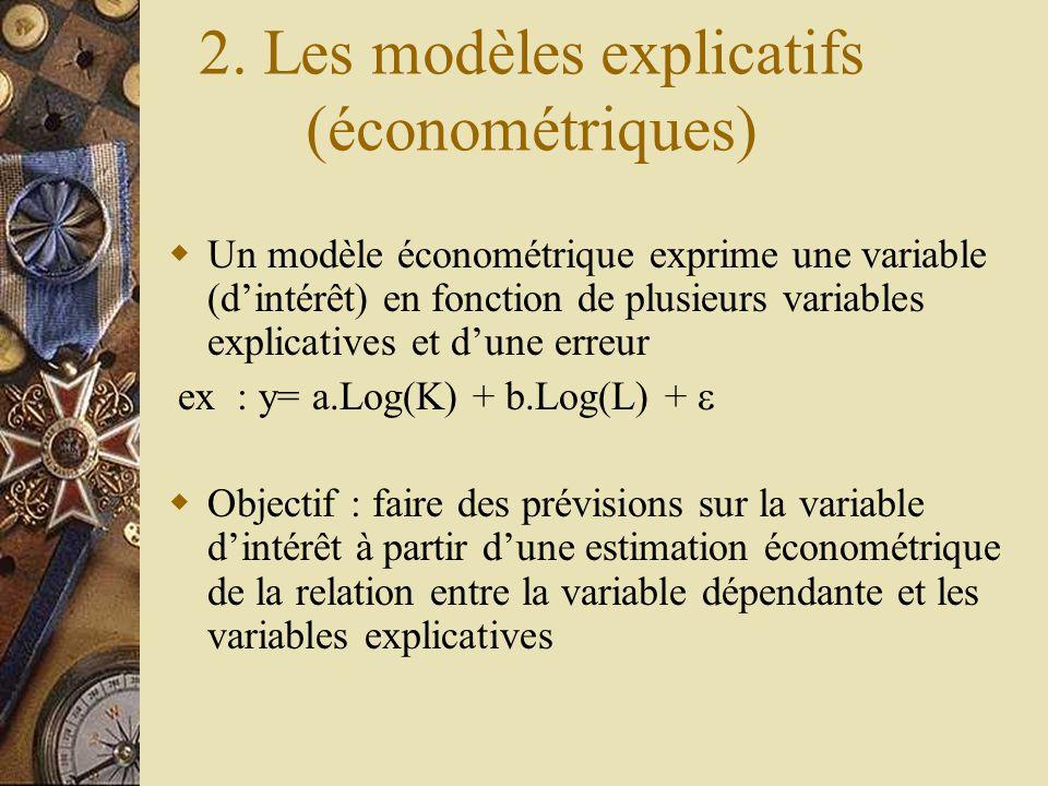 2. Les modèles explicatifs (économétriques)  Un modèle économétrique exprime une variable (d'intérêt) en fonction de plusieurs variables explicatives