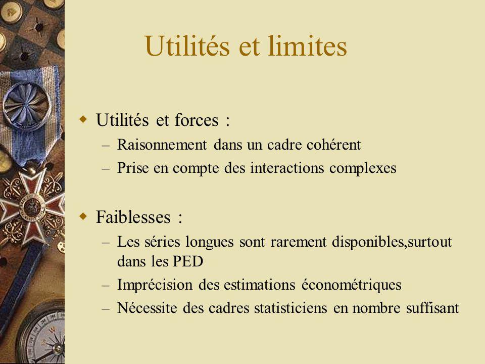 Utilités et limites  Utilités et forces : – Raisonnement dans un cadre cohérent – Prise en compte des interactions complexes  Faiblesses : – Les sér