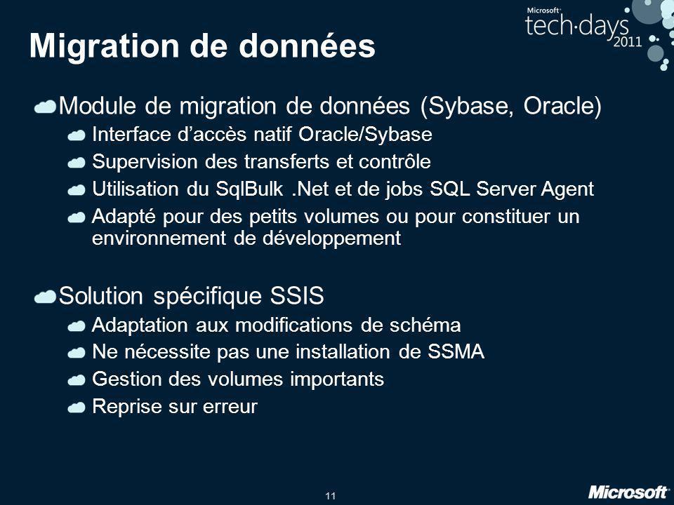 11 Migration de données Module de migration de données (Sybase, Oracle) Interface d'accès natif Oracle/Sybase Supervision des transferts et contrôle U