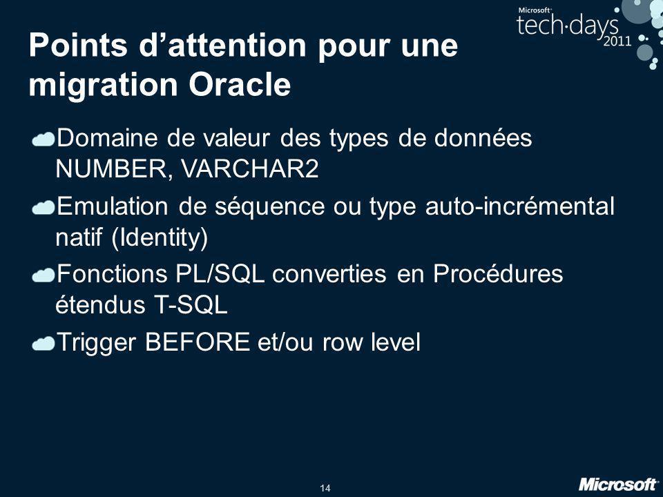 14 Points d'attention pour une migration Oracle Domaine de valeur des types de données NUMBER, VARCHAR2 Emulation de séquence ou type auto-incrémental