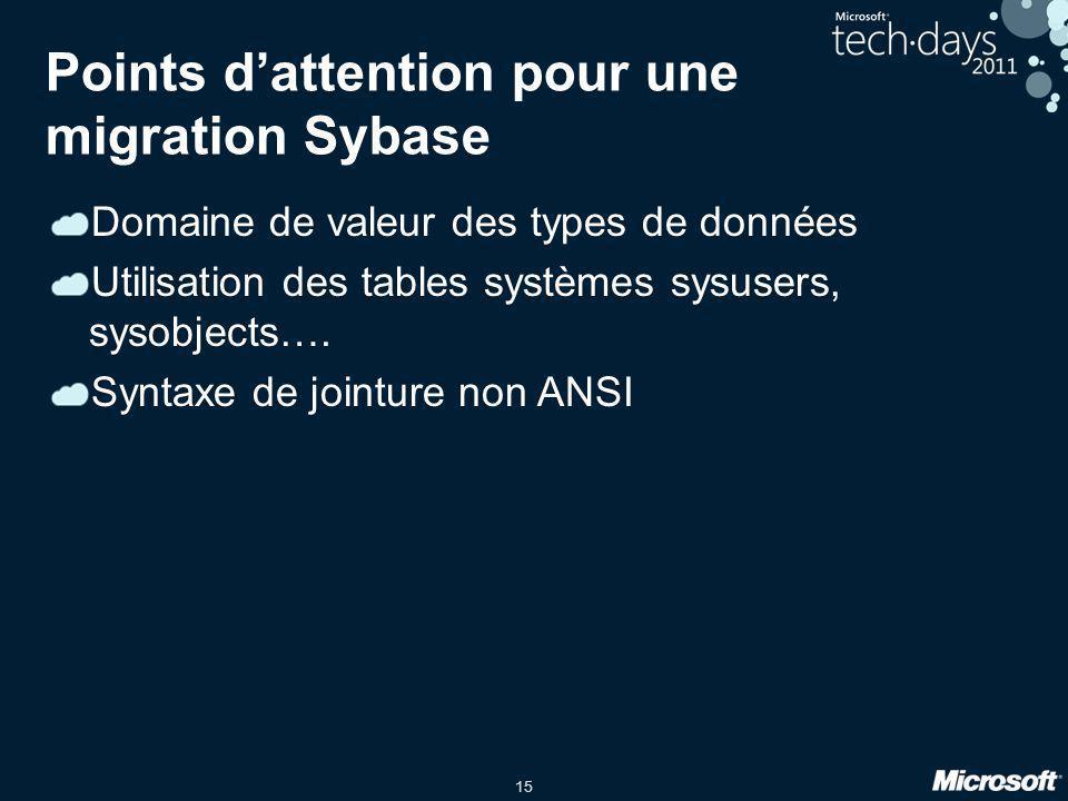 15 Points d'attention pour une migration Sybase Domaine de valeur des types de données Utilisation des tables systèmes sysusers, sysobjects…. Syntaxe