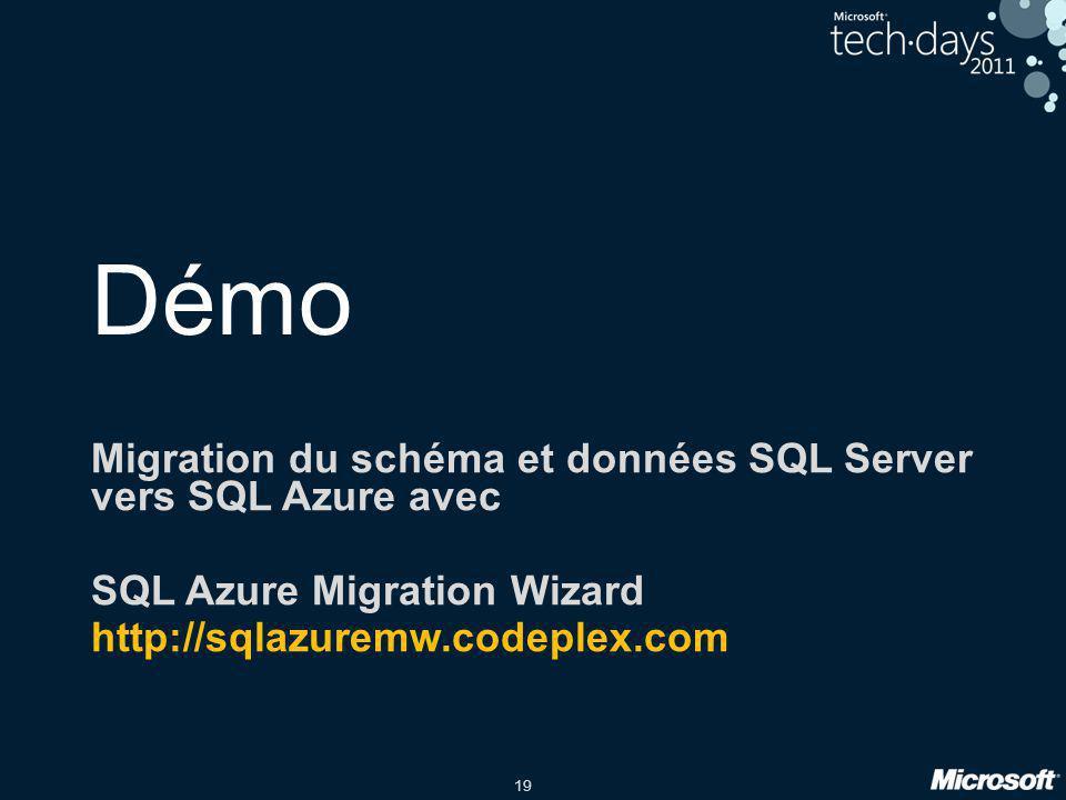 19 Démo Migration du schéma et données SQL Server vers SQL Azure avec SQL Azure Migration Wizard http://sqlazuremw.codeplex.com