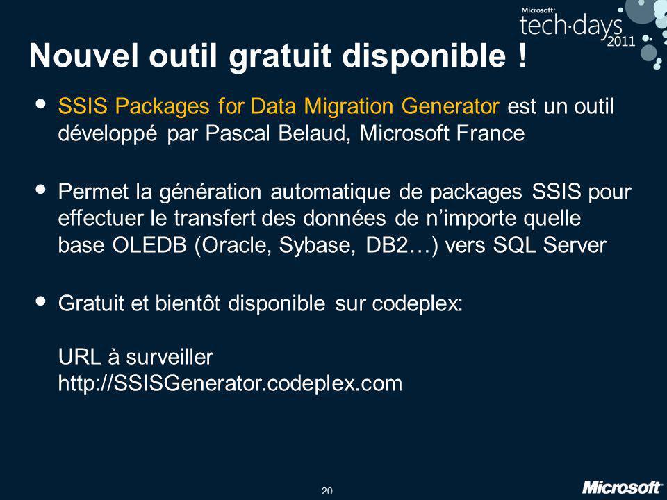 20 Nouvel outil gratuit disponible ! • SSIS Packages for Data Migration Generator est un outil développé par Pascal Belaud, Microsoft France • Permet