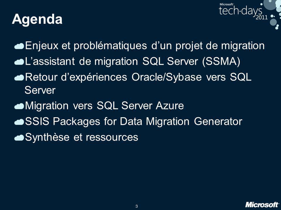 3 Agenda Enjeux et problématiques d'un projet de migration L'assistant de migration SQL Server (SSMA) Retour d'expériences Oracle/Sybase vers SQL Serv