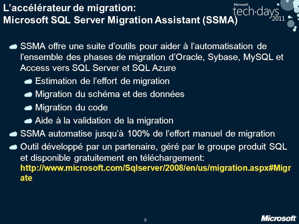 5 L'accélérateur de migration: Microsoft SQL Server Migration Assistant (SSMA) SSMA offre une suite d'outils pour aider à l'automatisation de l'ensemb