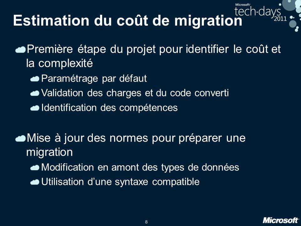 8 Estimation du coût de migration Première étape du projet pour identifier le coût et la complexité Paramétrage par défaut Validation des charges et d