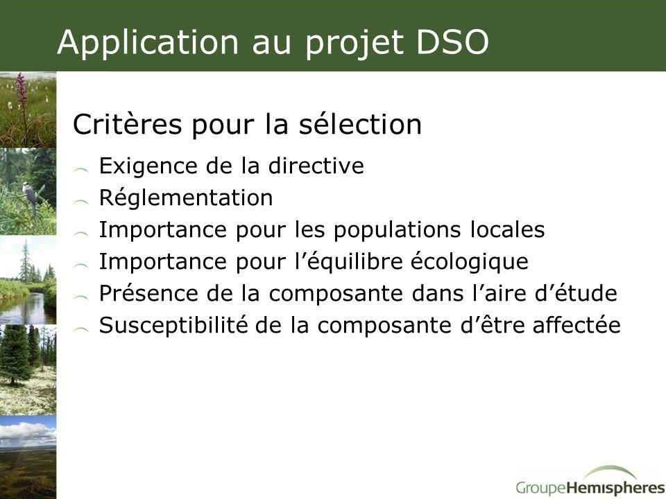 Critères pour la sélection Exigence de la directive Réglementation Importance pour les populations locales Importance pour l'équilibre écologique Prés