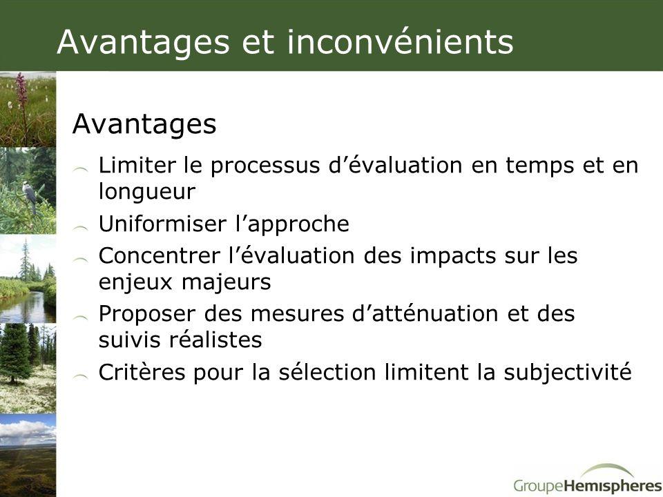 Avantages et inconvénients Avantages Limiter le processus d'évaluation en temps et en longueur Uniformiser l'approche Concentrer l'évaluation des impa
