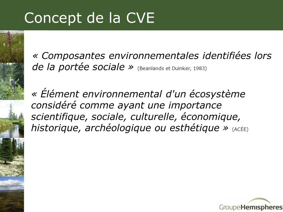 Concept de la CVE « Élément environnemental d'un écosystème considéré comme ayant une importance scientifique, sociale, culturelle, économique, histor