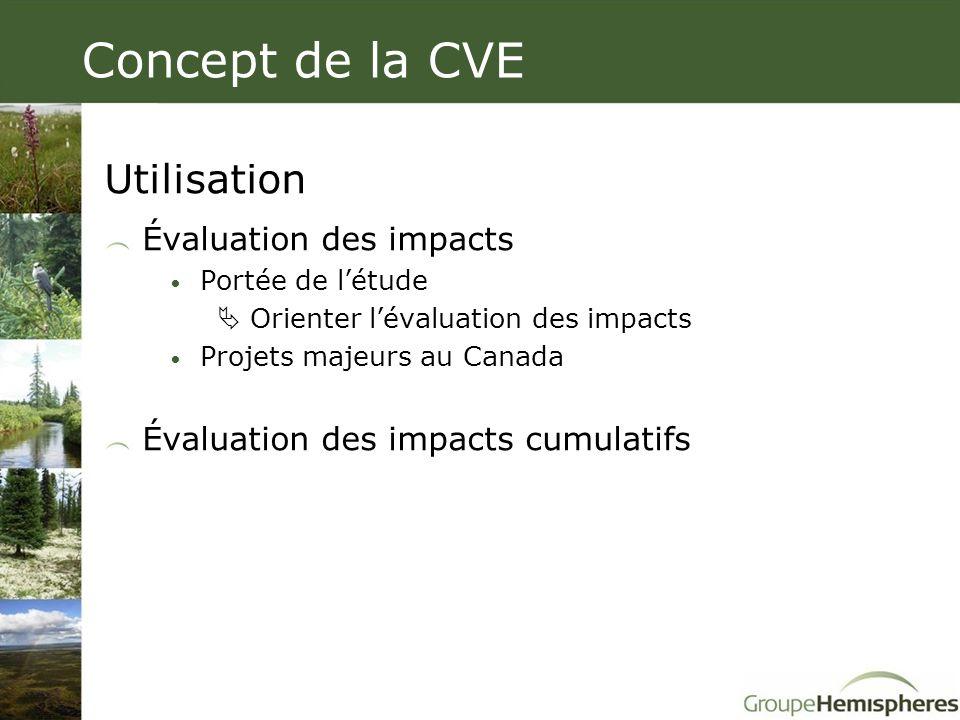 Concept de la CVE Utilisation Évaluation des impacts • Portée de l'étude  Orienter l'évaluation des impacts • Projets majeurs au Canada Évaluation de
