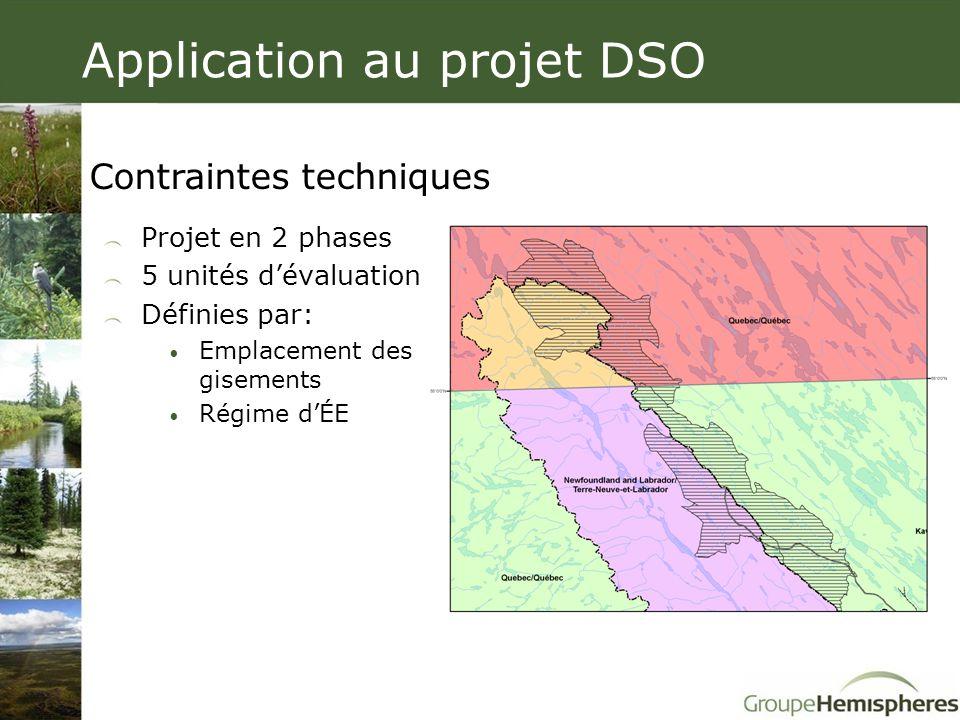 Projet en 2 phases 5 unités d'évaluation Définies par: • Emplacement des gisements • Régime d'ÉE Contraintes techniques Application au projet DSO