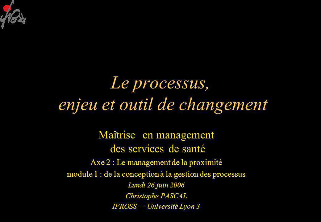 Le processus, enjeu et outil de changement Maîtrise en management des services de santé Axe 2 : Le management de la proximité module 1 : de la conception à la gestion des processus Lundi 26 juin 2006 Christophe PASCAL IFROSS — Université Lyon 3