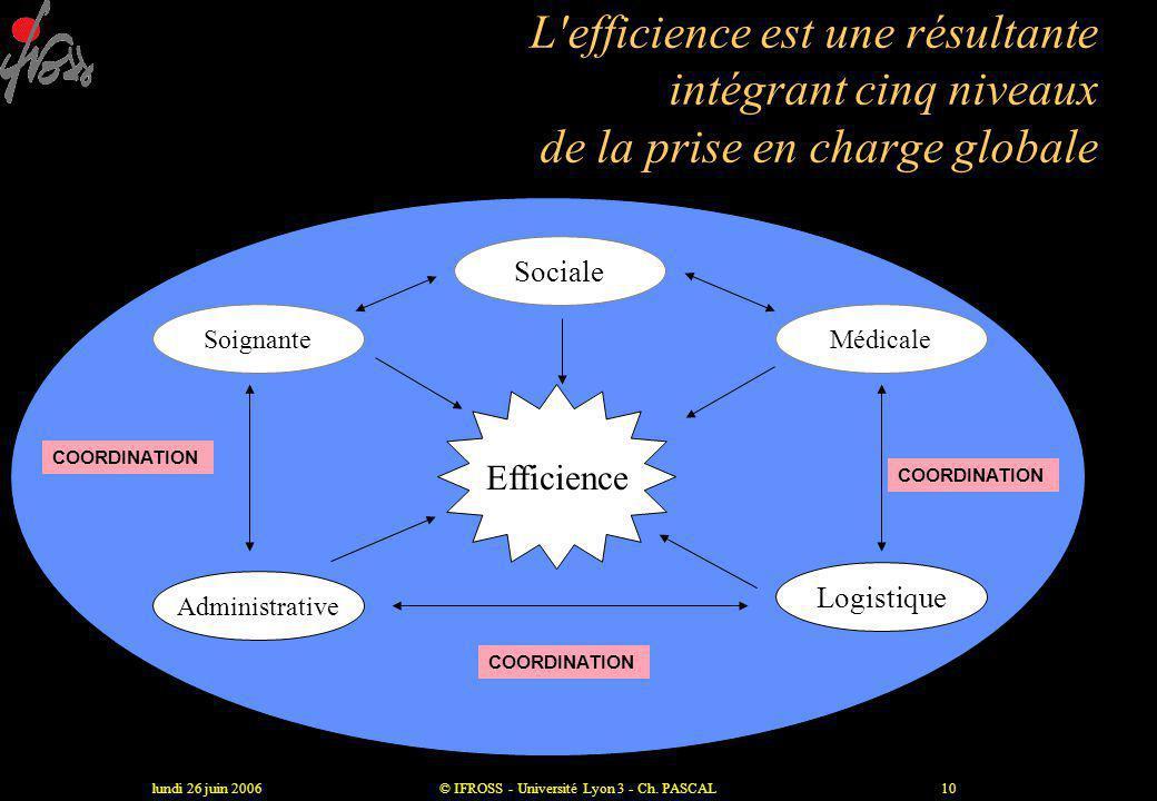 lundi 26 juin 2006© IFROSS - Université Lyon 3 - Ch. PASCAL9 L 'efficience •Somme d 'outputs obtenus (résultats atteints) par unité d 'inputs (moyens)