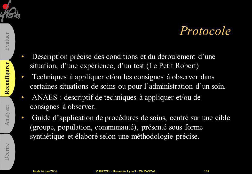 """lundi 26 juin 2006© IFROSS - Université Lyon 3 - Ch. PASCAL101 Procédure • Définition ISO (reprise par ANAES) : """" manière spécifiée d'accomplir une ac"""