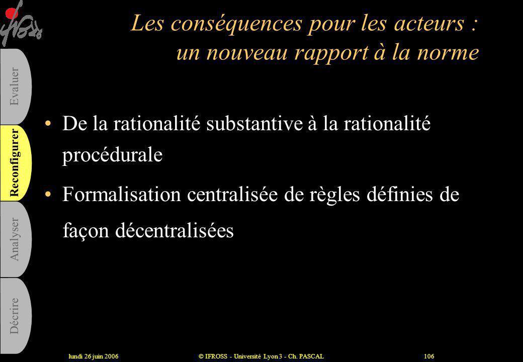 lundi 26 juin 2006© IFROSS - Université Lyon 3 - Ch. PASCAL105 Les limites des procédures • illusion de vérité et d'objectivité • illusion d'usage et