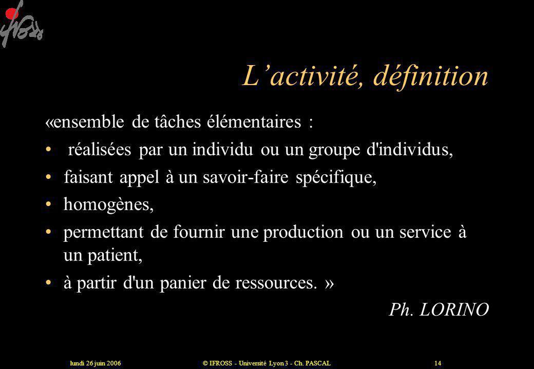 lundi 26 juin 2006© IFROSS - Université Lyon 3 - Ch. PASCAL13 Le processus : définition •« ensemble cohérent d'activités •se déroulant dans un espace