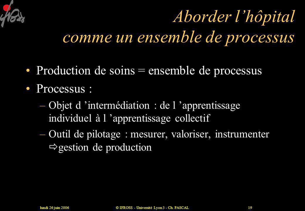 lundi 26 juin 2006© IFROSS - Université Lyon 3 - Ch. PASCAL18 Se centrer sur les inter-relations Activité Production ActivitéProductionActivitéProduct