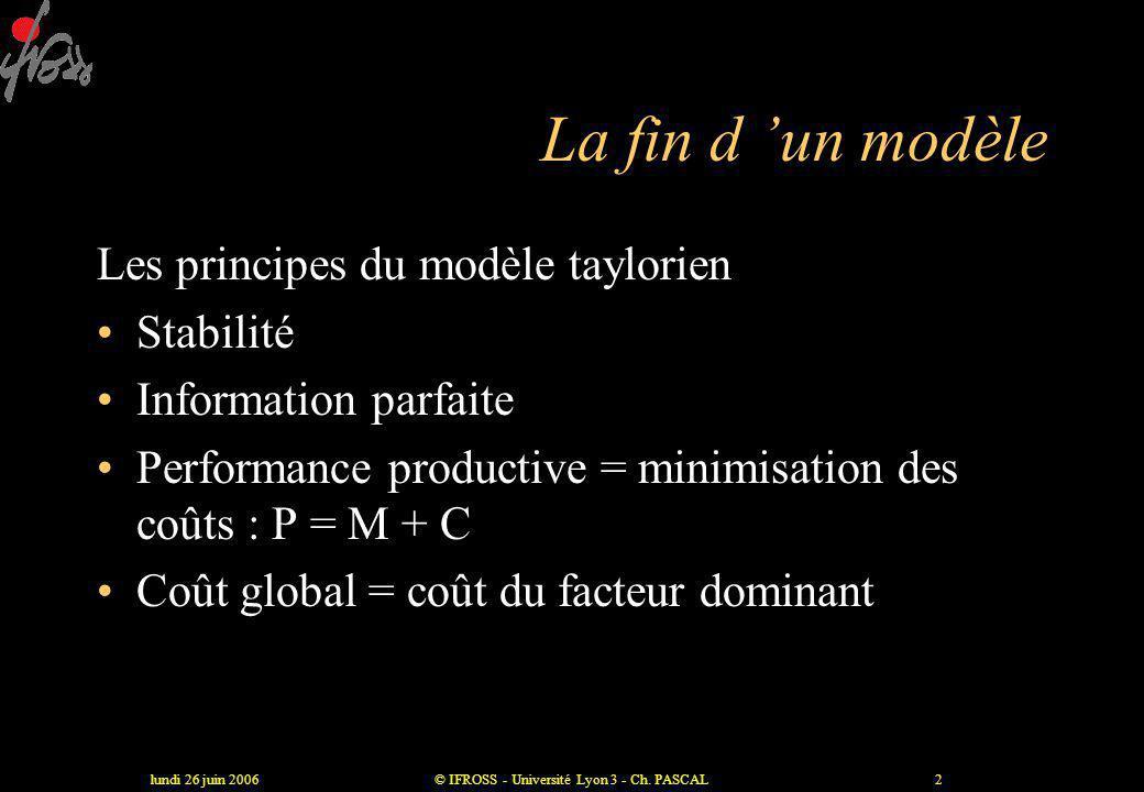 lundi 26 juin 2006© IFROSS - Université Lyon 3 - Ch.
