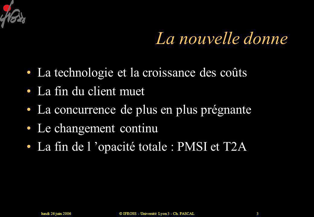 lundi 26 juin 2006© IFROSS - Université Lyon 3 - Ch. PASCAL2 La fin d 'un modèle Les principes du modèle taylorien •Stabilité •Information parfaite •P