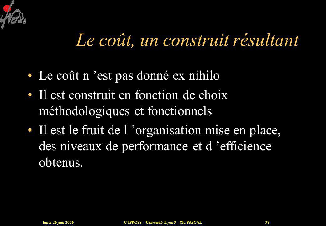 lundi 26 juin 2006© IFROSS - Université Lyon 3 - Ch. PASCAL37 Quelques questions pour évaluer les attentes des clients ? •A quoi les clients accordent