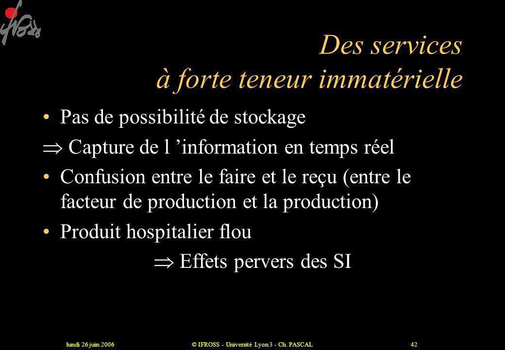 lundi 26 juin 2006© IFROSS - Université Lyon 3 - Ch. PASCAL41 Un spectre large et hétérogène •Plus de 120 métiers à l 'hôpital •Diversité des compéten