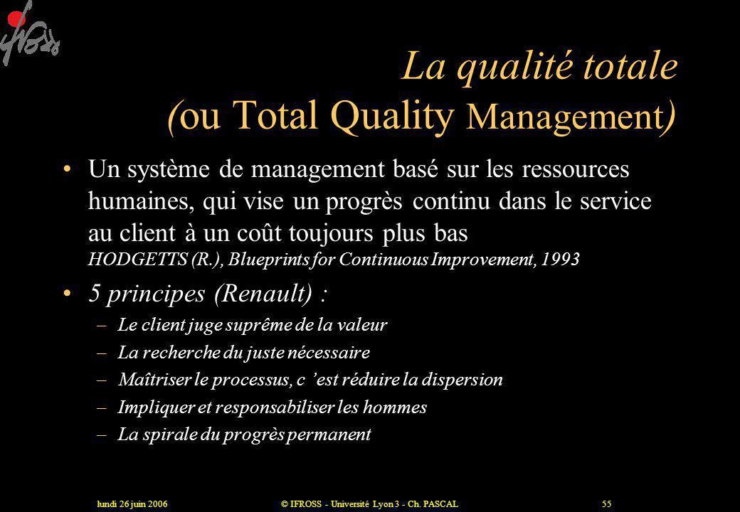 lundi 26 juin 2006© IFROSS - Université Lyon 3 - Ch. PASCAL54 Le reengineering •« Une remise en cause fondamentale et une redéfinition radicale des pr