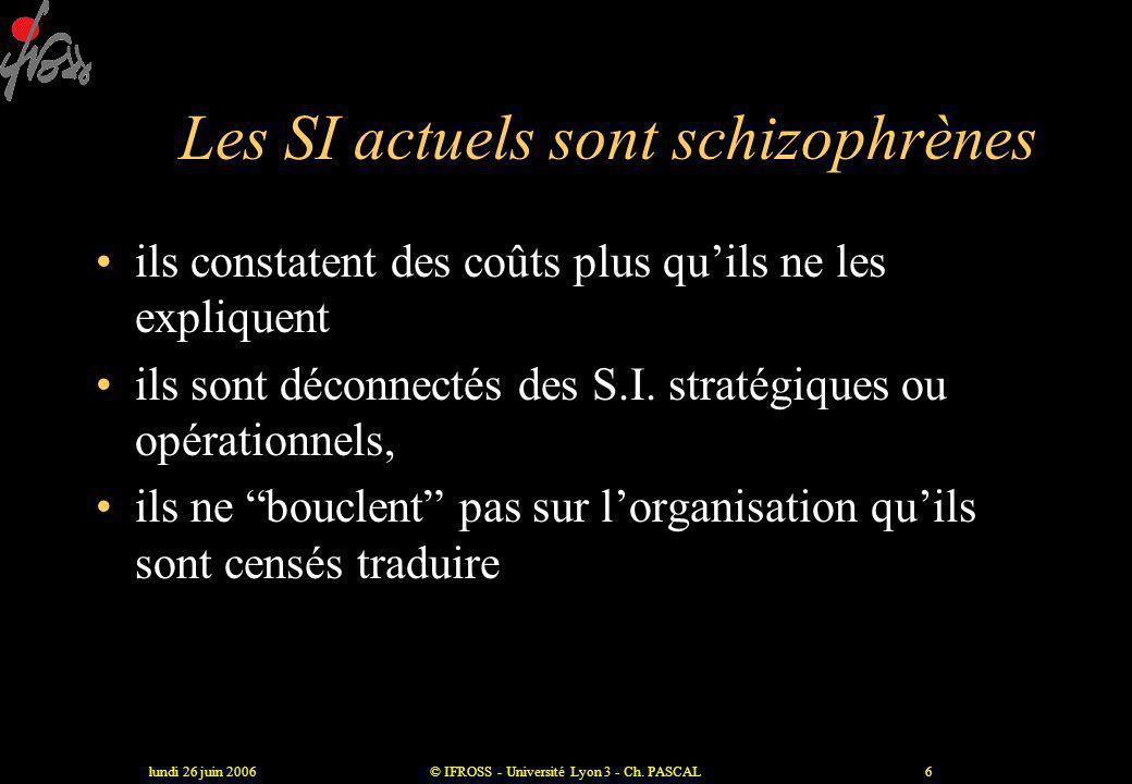 lundi 26 juin 2006© IFROSS - Université Lyon 3 - Ch. PASCAL5 Conséquence •Entrées  •DMS  •Pas de possibilité d 'ajustement sur les prix : T2A •Organ