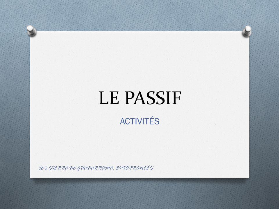 METTEZ LES PHRASES AU PASSIF répondez: Philips, Fleming, Michel-Ange, Christophe Colomb, Gutemberg, Saint- Exupéry.