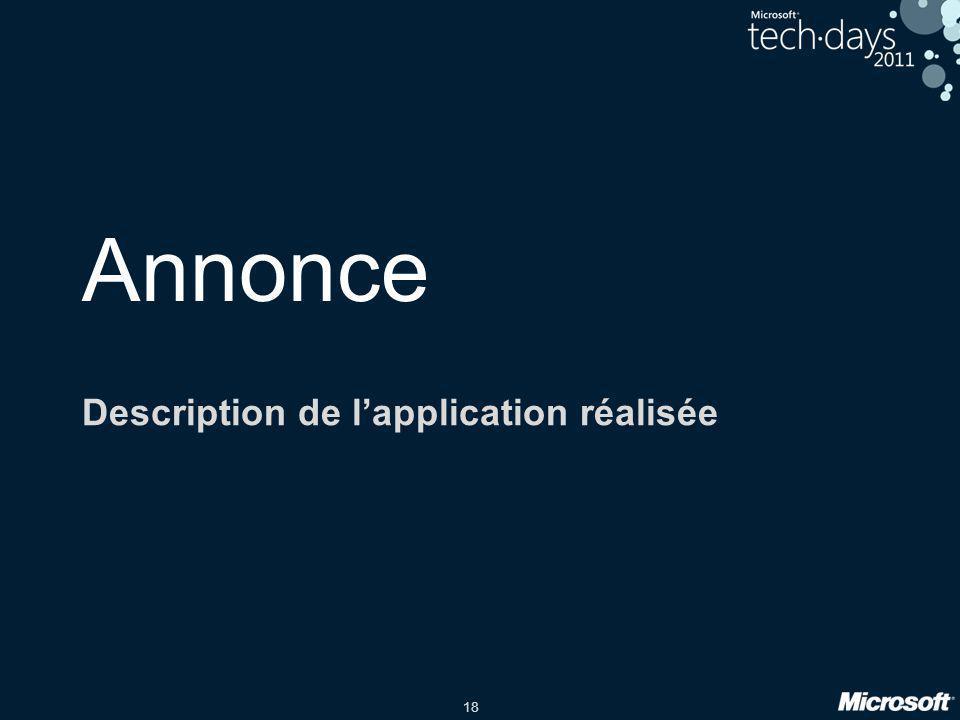 18 Annonce Description de l'application réalisée