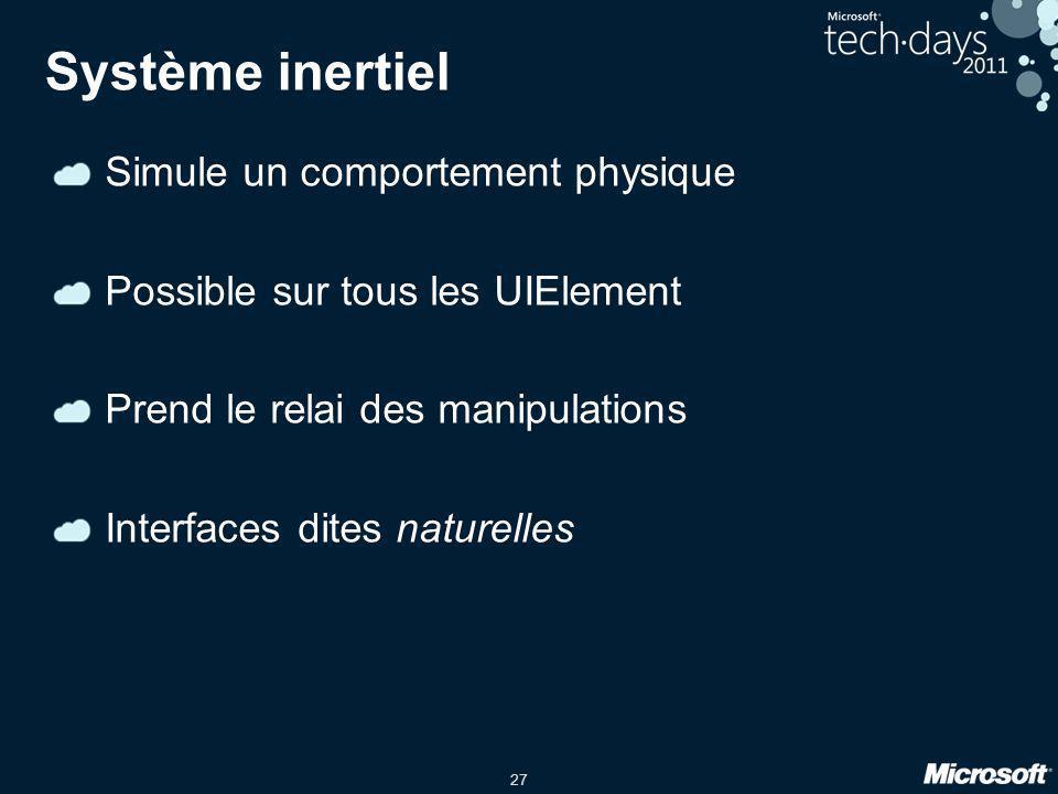 27 Système inertiel Simule un comportement physique Possible sur tous les UIElement Prend le relai des manipulations Interfaces dites naturelles