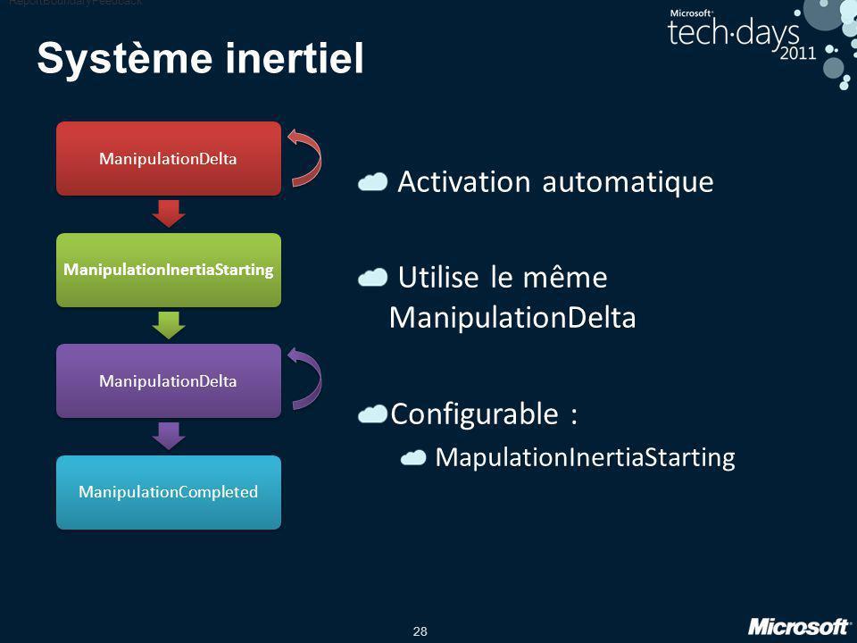 28 Système inertiel Activation automatique Utilise le même ManipulationDelta Configurable : MapulationInertiaStarting ReportBoundaryFeedback